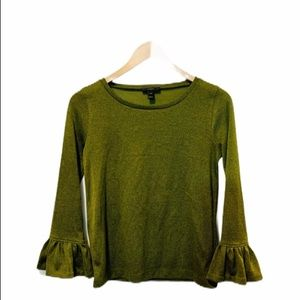 J. CREW Green Sparkle Bell Sleeve Top